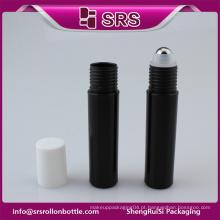SRS grande quantidade vazio plástico preto 10ml rolo em garrafa para creme para os olhos