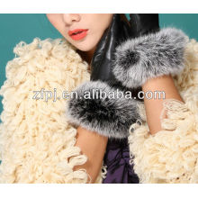 Dame Winter fancy Kaninchen Pelz kurzen Leder Handschuhe Fabrik