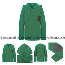 Pull en cachemire pur de couleur verte pour homme