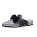 2019 new arrival big size mules shoes women glitter fade mules shoes pointed toe low heel sandals