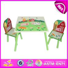 Beau jouet en bois de table et de chaise pour des enfants, table en bois de jouet et chaise réglés pour des enfants, table en bois mignonne et chaise W08g129