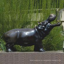 bronze fundição metal artesanato bronze hipopótamo bocejo tatue escultura