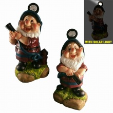 Decorative Solar Lighted Fireman Resin Dwarf for Garden Yard Decoration