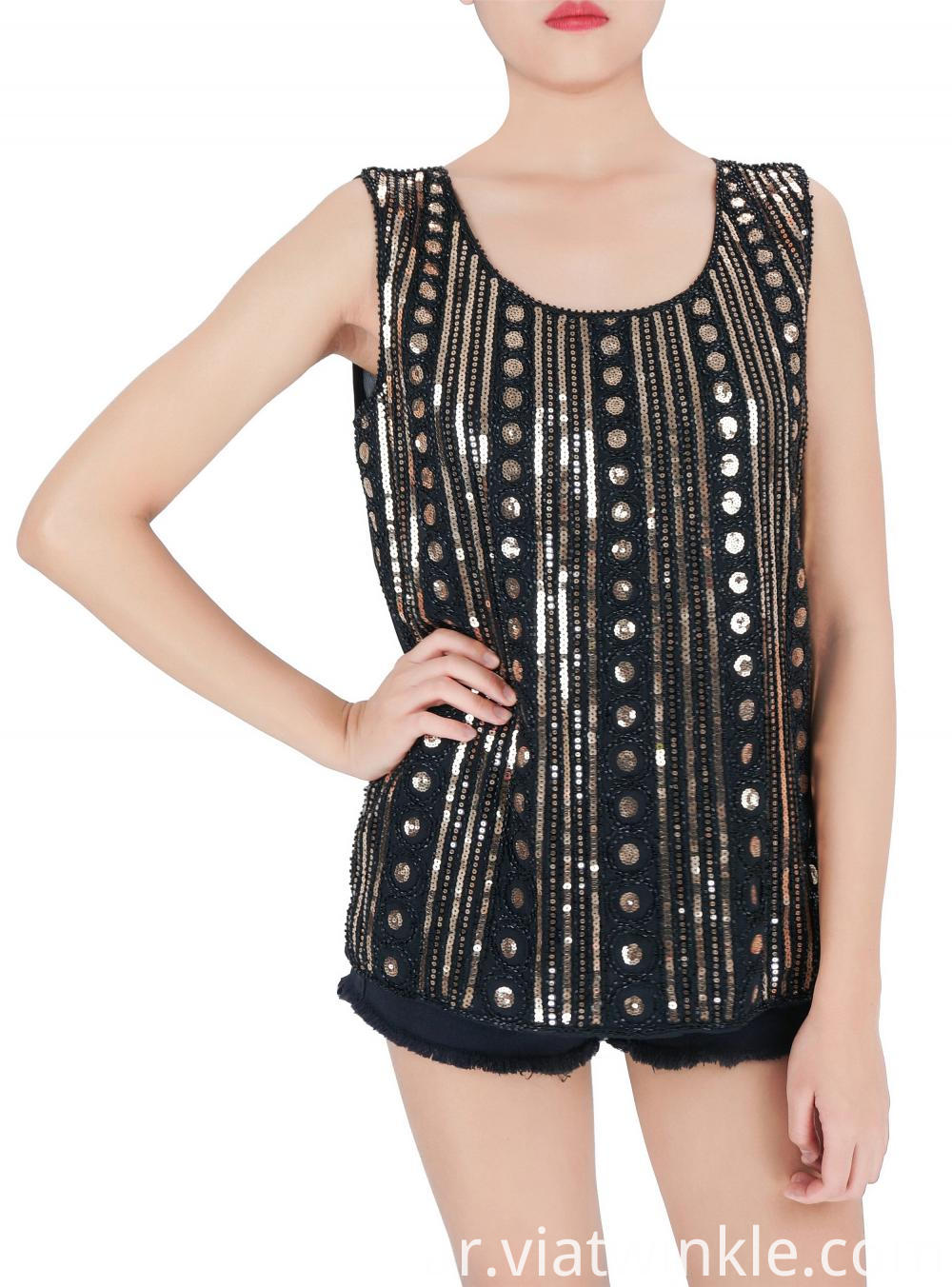Embroidered Sequin Sleeveless
