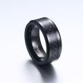 Anel de fibra de carbono de tungstênio preto gravável para casamento