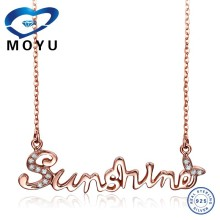Women 18k Rose Gold Cubic zirconia Necklace You Are My Sunshine CZ Words Necklace Jewelry