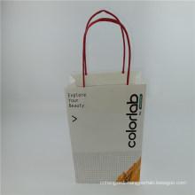 Customed Logo Paper Bag White Kraft Bag with Twist Paper Handle
