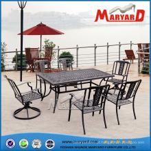 Mesa de jantar 6 cadeiras conjunto de mobiliário de jardim de quintal gramado ao ar livre