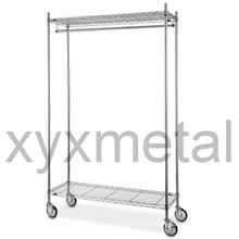 Kommerzielle Grade Moveable Multifunktions-Chrome Garment Rack