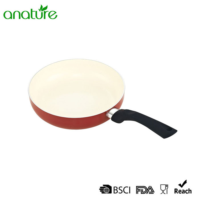 White Ceramic Red Heat Resistant Fry Pan