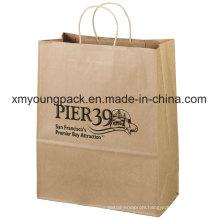 Custom Printed Gift Packaging Brown Shopping Kraft Paper Bag