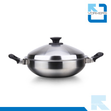 2016 Fashion Double Handle Stainless Steel Kitchenware Metal Pot