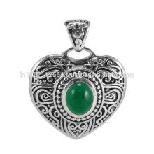 Зеленый Оникс Драгоценных Камней 925 Серебряный Кулон Ювелирные Изделия
