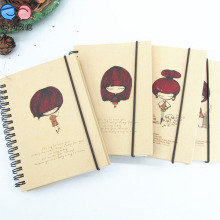Elastic Band Eco Friendly Recycled Kfraft Paper Pocket Coil Notebook