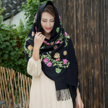 Women Retro Handkerchief Embroidery Winter Pashmina Scarf