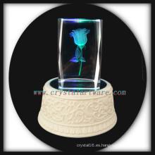 laser 3D gire la rosa de cristal grabado al agua fuerte con la música llevó la Base