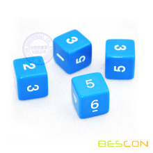 Opaque Blue and White 6 Sided 1-6 number Dice