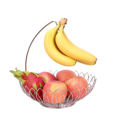 Factory Wholesale Single Layer Hanging Stainless Steel Drain Vegetable Metal Wire Fruit Basket With Banana Stand