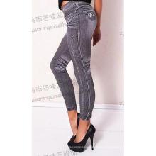 Womens Jacquard Blue Jeans Trousers Stretch Seamless Leggings