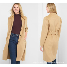 Women Classic Wool Coat with Lapel Collar Coat