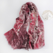 Women Fashion Floral Printed Viscose Scarf (YKY1126)
