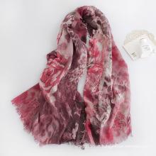 Mulheres moda floral impresso lenço de viscose (yky1126)