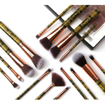 15 Stück Black Pattern Kosmetik Make-up Pinsel Sets