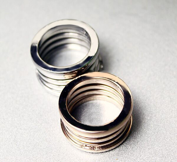 Gold Plated Five Round Spring Ring For Women