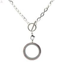 Мода из нержавеющей стали серебра плоский переключения цепи ожерелье для плавающей подвески медальон