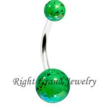 Joyería atractiva del cuerpo de la playa de la salpicadura de la bola de acrílico del verde de la moda
