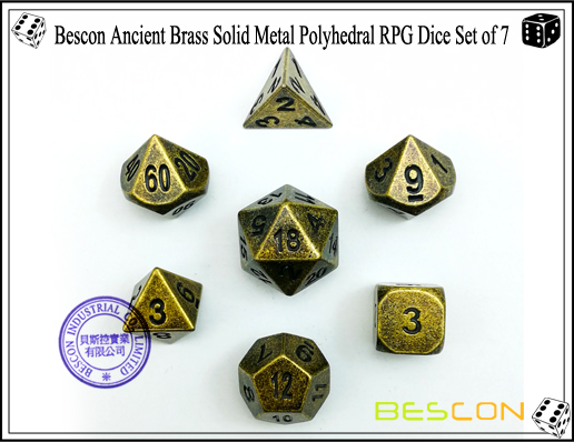 Bescon Ancient Brass Solid Metal Polyhedral RPG Dice Set of 7-1