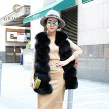 Venta al por mayor China proveedor real de piel de zorro chaleco mujer