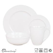 16PCS Porcelain Dinner Set for restaurant and Hotel Embossed Design