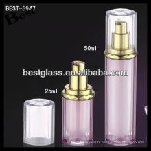 flacons et bonnets cosmétiques acryliques, flacons et capsules cosmétiques acryliques de forme ronde, flacons et bonnets cosmétiques acryliques roses