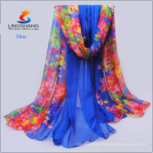 Lingshang new design fashion wholesale hot sale digital printed high quality silk chiffon infinity scarf