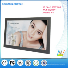 narrow frame 10.1 inch 1280*800 wall mount android tablet POE android version 4.4