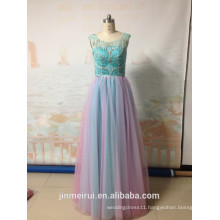 Colorful Tulle Beaded Rhinestones Open Back A-Line Mint Green Desinger Inspired With Real Photos Prom Dresses Long Evening Dress