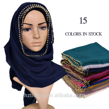 Factory Supplier Women Long Muslim Hijab Scarf Voile Plain Pearl Scarf
