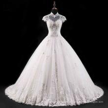 Высокий Воротник С Открытой Спиной Бисероплетение Кружева Свадебное Платье Для Новобрачных