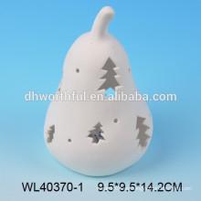 Ornamento de Navidad de porcelana blanca con encendedor led