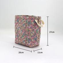 Custom Printing Canvas Cotton Multifuctional Lightweight Lazy Drawstring Cosmetics Bag