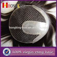 Indian Virgin Hair Bleached Knots French Lace Toupee With Pu Around