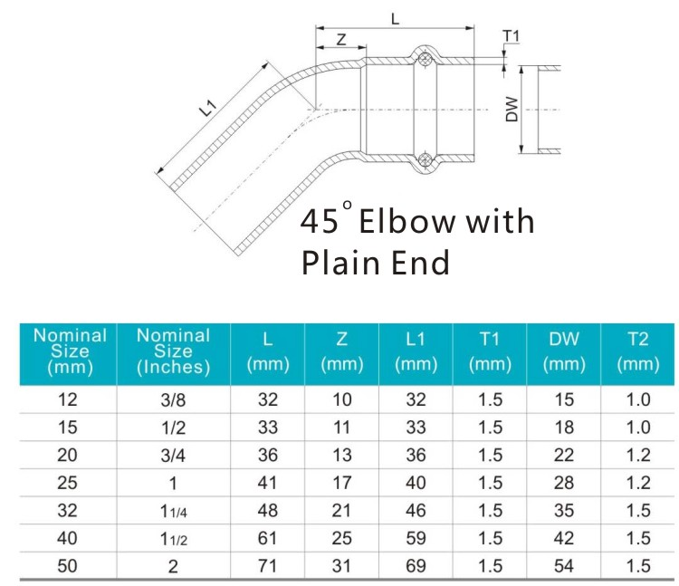 45 elbow with plain end