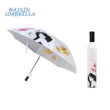Gracias Regalos de boda para invitados Logotipo personalizado promocional y Foto Barato paraguas de botella de vino con cubierta de plástico