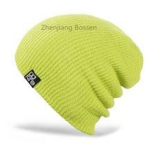 Customized Solid Light Green Ski Ribbed Flap Knit Hat