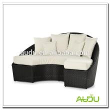 Audu White Cushion Half Moon Black Rattan Chaise Longue