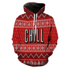 Chirstmas Red Fleece Long Sleeve Men Jacket Coat Garment Clothes Hoody