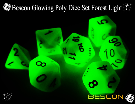 Bescon Glowing Poly Dice Set Forest Light-7