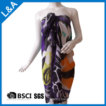 Polyester Chiffon Printed Scarf for Women Purple
