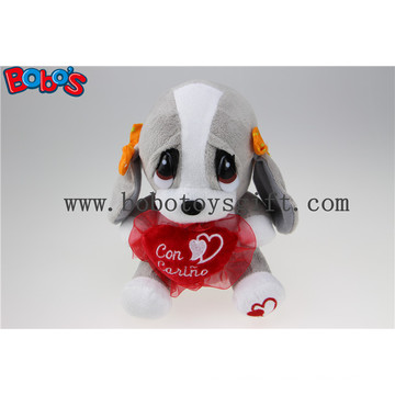 20cm Valentine′s Gift Plush Dog Toy with Red Heart